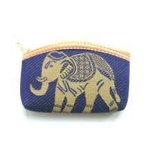 Navy blue cotton coin purse with gold elephant design
