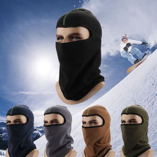Thick Solid Fleece Beanie Cap Facel Mask Hat
