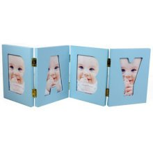 BABY BOY - Folding Free Standing 4 Picture Photo Collage Frame  - Blue