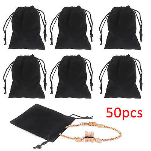 50X Velvet Jewellery Pouches Drawstring Gift Bags Christmas Wedding Favour Black