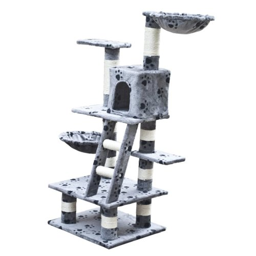 Cat Tree Scratcher Post Cat Toy Bed Furniture Plush 122 cm Grey Pawprints