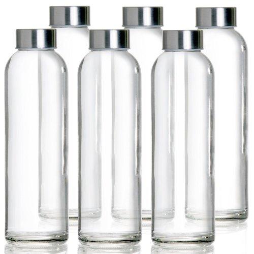 Glass Water Bottles 6 Pack.18 Oz Travel Water Bottle. New Juice Bottle Smoothie Bottle in Glass Bottles With Lids. Drink Bottles With Leak Proof...