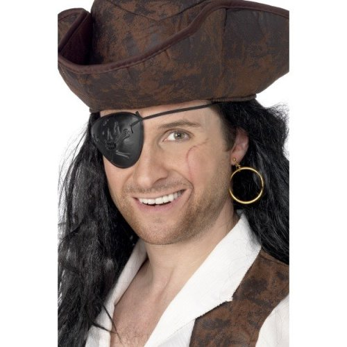 Smiffys Pirate Eyepatch & Earring - Black -  eyepatch earring pirate fancy dress smiffys set costume