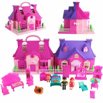 deAO Portable Dollhouse Playset My Happy Family Dollhouse 2 Level Town House Carry Case with Clutch and Handle Take Away Dolls Playset Includes 14 Accessories and 3 Dolls