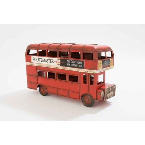 Antique Metal Red London City Toy Model Gift Bus