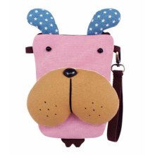 Creative Cute Canvas Messenger Storage Cosmetics Phone Bag Pink