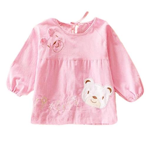 Lovely Girl Smocks Baby Feeding Clothes Baby Bibs Cute Bear ,Pink