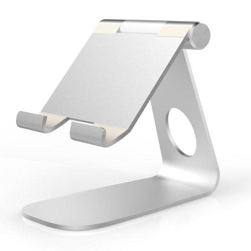 MoKo Tablet Stand, Universal 210 Degree Rotatable Aluminum Alloy SILVER
