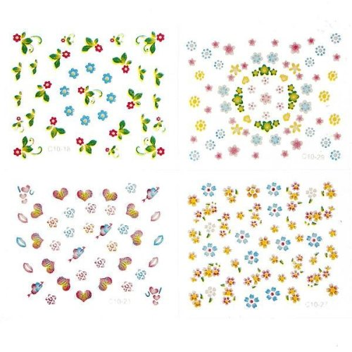 10Sheets 3D Flowers Mixed Nail Art Transfer Stickers