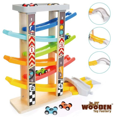 The Wooden Toy Factory - MEGA Click Clack Racing Track with *6* Cars - Includes Parking Lot - No Assembly Required