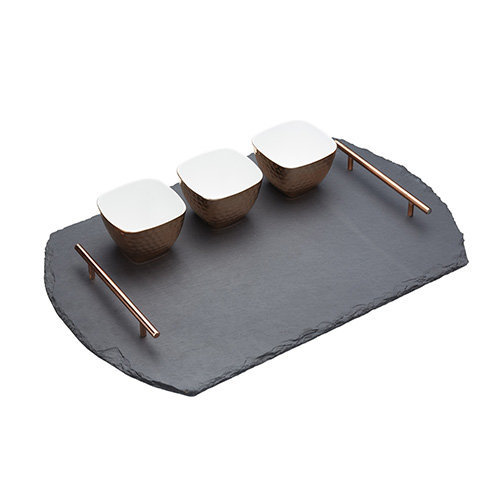 Master Class Artesà Slate Serving Tray and Copper-Finish Bowls (4-Piece Set)