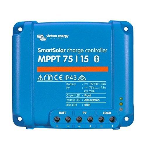 Victron SmartSolar MPPT 75/15 15A solar charge controller for solar panels up to 220W (12V) / 440W (24V) and up to 75V. With inbuilt Bluetooth for...