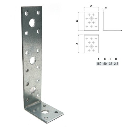 REINFORCED GALVANISED ANGLE BRACKET 150x50x2.5mm HEAVY DUTY pack of 010