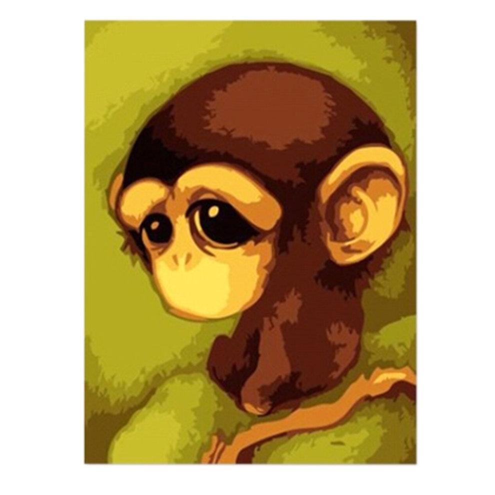 Adorable Monkey]DIY Art Digital Oil Painting Canvas Prints Wall Art ...