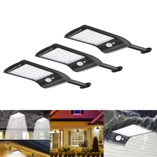 3pcs Solar Powered 36 LED PIR Motion Sensor Waterproof Street Security Light Wall Lamp for Outdoor Garden