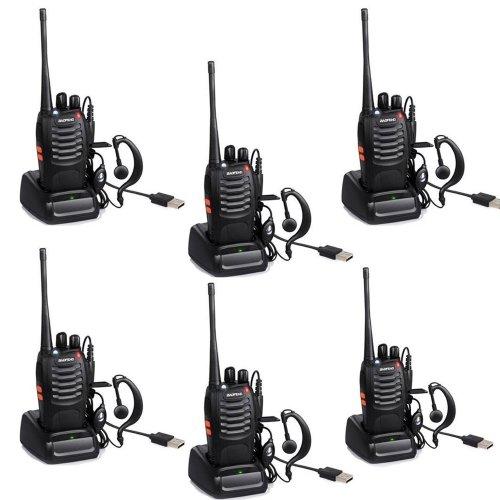 6 Pack BF-888S Long Range UHF 400-470 MHz 5W CTCSS DCS Portable Handheld 2-way Ham Radio + Original Earpiece *6 pcs