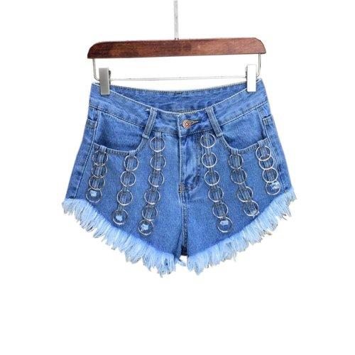 Fashion Metal Hoops Design Hot Pants High Waist Denim Shorts Jeans, A