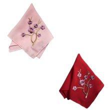 Two Pieces Of Elegant  Retro Plum Flower Embroidered Handkerchiefs-c