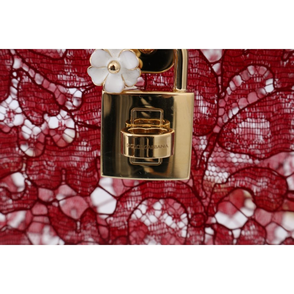 f282a6ab78 ... Dolce & Gabbana Red Taormina Lace Crystal Clutch Bag - 5. >