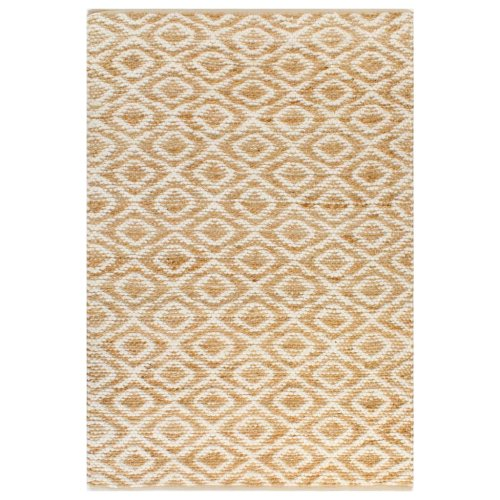 vidaXL Hand-Woven Jute Area Rug Fabric 120x180cm Natural and White Carpet