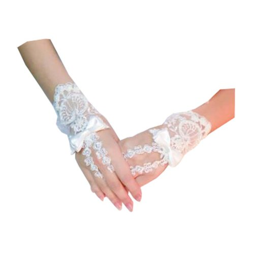 Women's Elegant Lace Fingerless Gloves for Wedding Party Brides Accessory - D
