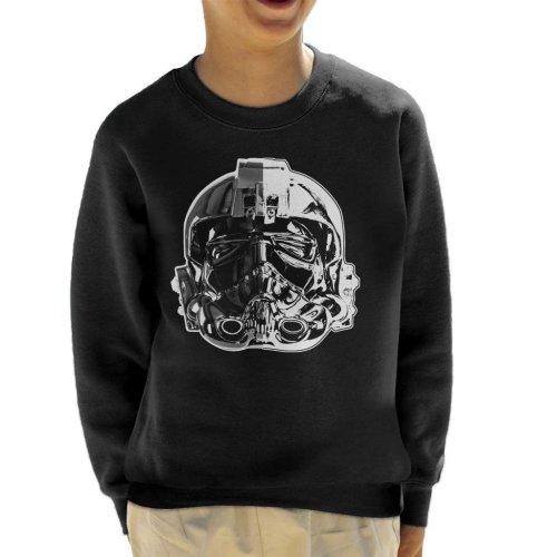 Original Stormtrooper Imperial TIE Pilot Helmet Monochrome Effect Kid's Sweatshirt