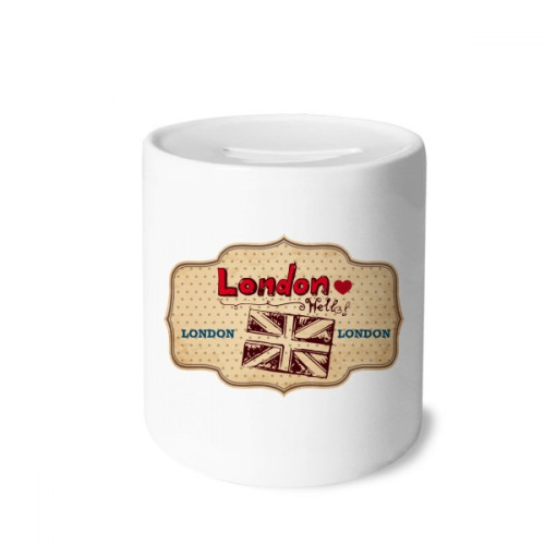 UK London Union Jack Stamp Money Box Saving Banks Ceramic Coin Case Kids Adults