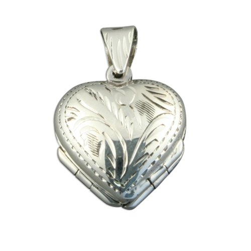 Childrens Sterling Silver 4 Way Family Heart Locket On A Curb Necklace