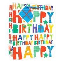 Simon Elvin Standard Large Gift Bags - Contemporary Font Happy Birthday -  simon elvin standard large gift bags contemporary font happy birthday