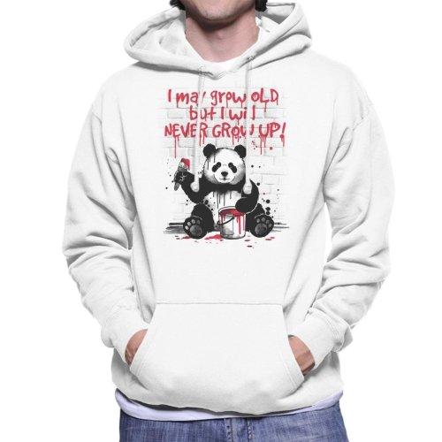Never Grow Up Panda Men's Hooded Sweatshirt