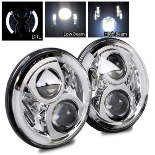TurboMetal 7 in. Round Cree Chrome LED Projector Headlight for Jeep JK TJ LJ CJ
