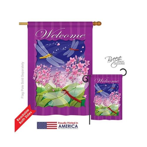 Breeze Decor 04063 Dragonfly Paradise 2-Sided Vertical Impression House Flag - 28 x 40 in.