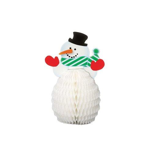 Unique Party  90340  - Mini Honeycomb Snowman Christmas Decorations, Pack of 4